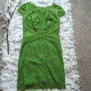 Tadashi Shoji green lace midi dress